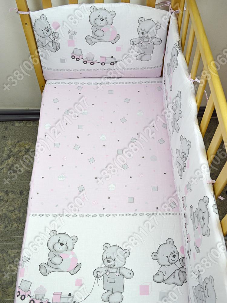 """Детское постельное белье в кроватку """"Карапуз"""" комплект 7 ед. (мишка игрушки розовый)"""