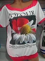 Футболка женская Турция полубатал цветочный принт