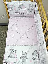 """Детское постельное белье в кроватку """"Бим Бом"""" комплект 5 ед. (мишка игрушки розовый), фото 3"""