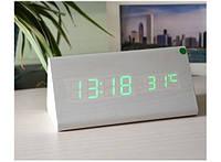 Деревянные светодиодные Настольные часы Wooden Clock Молочный дуб
