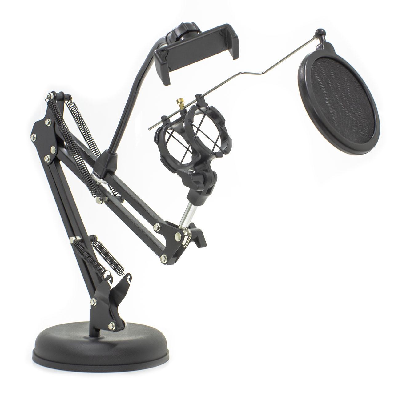 ➀Держатель GINZSH KH-30 вращающийся 2 в 1 для блогеров кронштейн настольный для смартфона микрофонная стойка