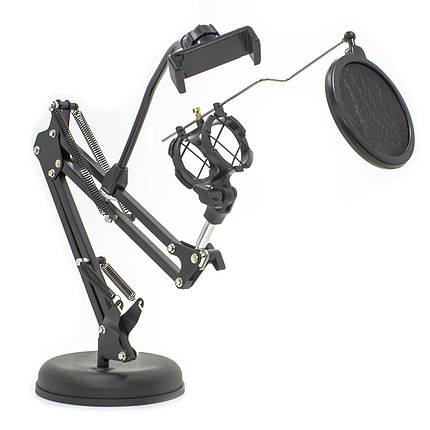 ➀Держатель GINZSH KH-30 вращающийся 2 в 1 для блогеров кронштейн настольный для смартфона микрофонная стойка, фото 2