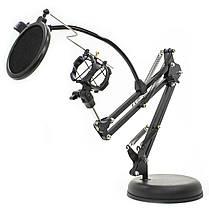 ➀Держатель GINZSH KH-30 вращающийся 2 в 1 для блогеров кронштейн настольный для смартфона микрофонная стойка, фото 3