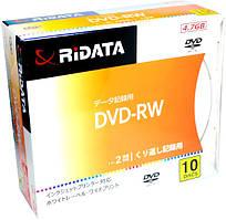Диск RIDATA DVD-RW 4,7 Gb 2x Printable, Slim case (10шт)