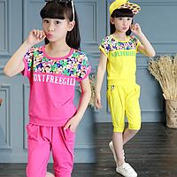 Літній комплект для дівчинки / Летняя Одежда для девочек хлопковый комплект Цветочный принт короткие + Штаны