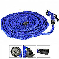 Шланг для полива на дачу икс хоз 30 м. Magic Hose - синий, компактный гибкий поливочный шланг с насадкой