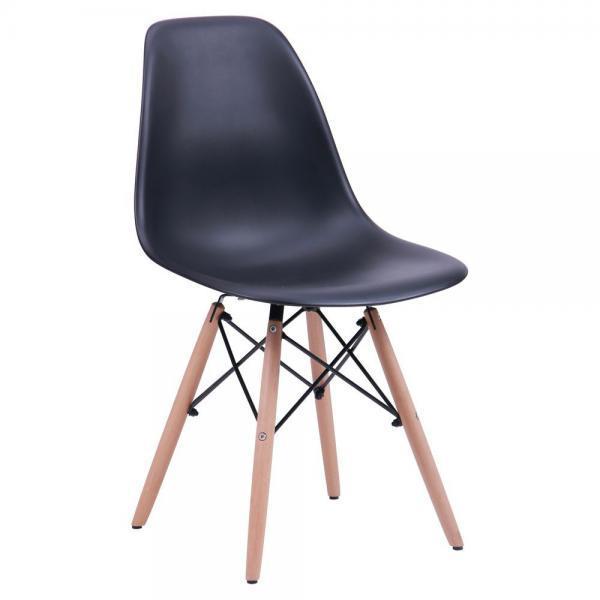 Черный стул на деревянных ножках с пластиковым сидением Nik для баров, кафе, ресторанов, квартир