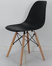 Черный стул на деревянных ножках с пластиковым сидением Nik для баров, кафе, ресторанов, квартир, фото 3