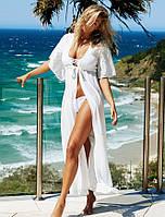 Женская пляжная длинна белая на пояске, фото 1