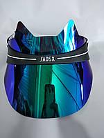 Пластиковый козырек в стиле J'DIOR (J'ADSX) с ушками бирюзовый