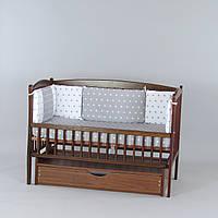 Бортики подушки в кроватку новорожденного Звездочки серые с белыми