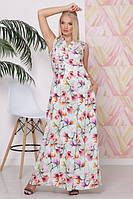Платье длинное женское летнее ботальное воротник стойка ЛАГУНА СВЕТЛО-САЛАТОВОЕ в цвети 50,52,54,56,58р
