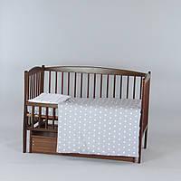 Комплект в кроватку новорожденного 3 в 1 Звездочки серые с белыми