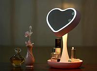 Дзеркало-нічник 3DTOYSLAMP Miror Heart Рожеве, фото 1
