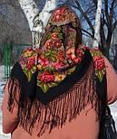 Галина 258-18, павлопосадский платок (шаль) из уплотненной шерсти с шелковой вязанной бахромой, фото 9