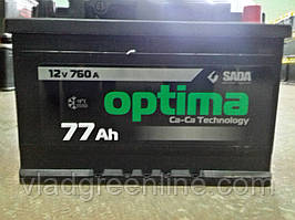 "Акумулятор SADA Optima 6СТ-77Аз (77Ач, 760А, 0 ""+"" праворуч )"