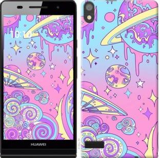 "Чехол на Huawei Ascend P6 Розовая галактика ""4146c-39-19380"""