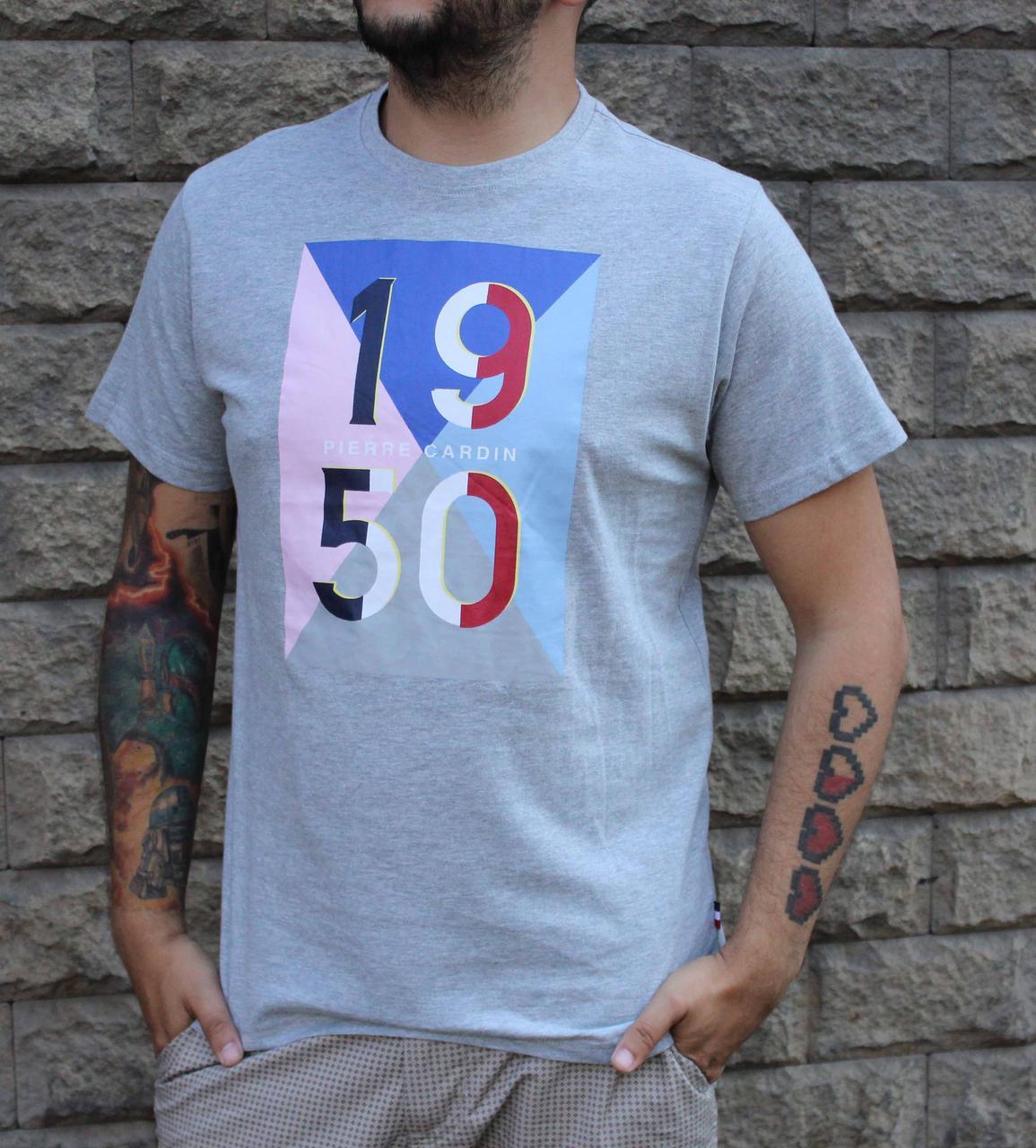 Молодежная серая футболка Pierre Cardin 1950 с принтом оригинал