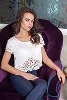 Шикарная блуза топ с перфорацией светлая