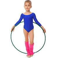 Купальник гимнастический с длинным рукавом Бифлекс синий детский (р-р S-L, рост 110-140см), фото 1