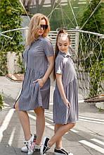Літнє плаття-сорочка сарафан принт смужка мама+донька бавовняний льон трикотаж розмір:42,44,46,134,140,146,152
