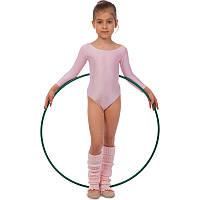 Купальник гимнастический с длинным рукавом Бифлекс розовый детский (р-р S-L, рост 110-140см), фото 1