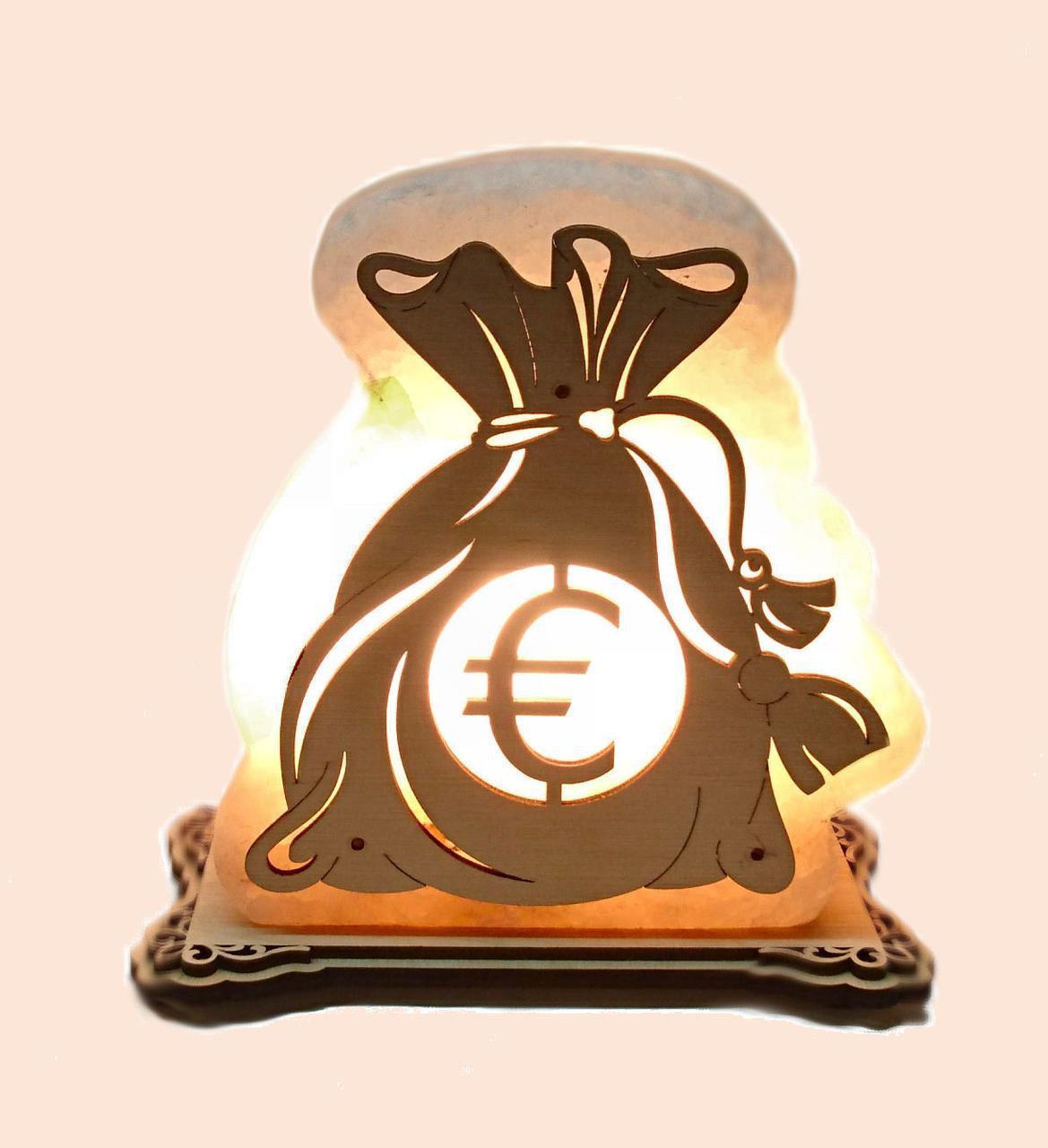 Соляной светильник Денежный мешок Евро большой