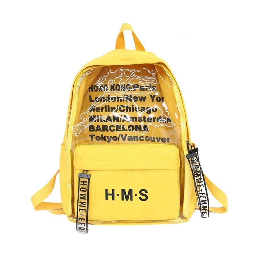 Молодежный рюкзак с прозрачными вставками желтый