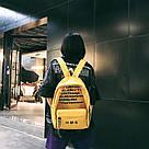 Молодежный рюкзак с прозрачными вставками желтый, фото 4