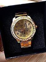 Женские часы Бабочка со стразами металлический ремешок (Золото)