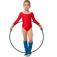 Купальник гимнастический с длинным рукавом Бифлекс красный детский (р-р S-L, 110-140см), фото 1