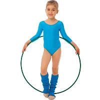 Купальник гимнастический с длинным рукавом Бифлекс голубой детский (р-р S-L, 110-140см)