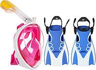 Набор для плавания 2 в 1 (полнолицевая панорамная маска FREE BREATH M2068G + короткие спортивные ласты) Розовая маска (размер L/XL); Ласты (размер L)