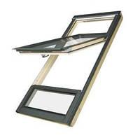 FAKRO Двустворчатое мансардное окно с приподнятой осью поворота створки FDY-V U3 Duet proSky 94х206 см