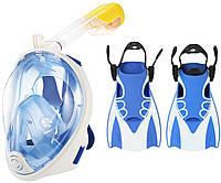Набор для плавания 2 в 1 (полнолицевая панорамная маска FREE BREATH M2068G + короткие спортивные ласты) Голубая маска (размер L/XL); Ласты (размер L)