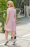 Женское летнее платье-рубашка на пуговицах принт полоска хлопковый лён трикотаж размер:42,44,46, фото 4