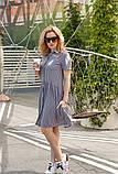 Женское летнее платье-рубашка на пуговицах принт полоска хлопковый лён трикотаж размер:42,44,46, фото 5