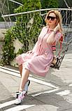 Женское летнее платье-рубашка на пуговицах принт полоска хлопковый лён трикотаж размер:42,44,46, фото 3