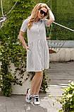 Женское летнее платье-рубашка на пуговицах принт полоска хлопковый лён трикотаж размер:42,44,46, фото 2