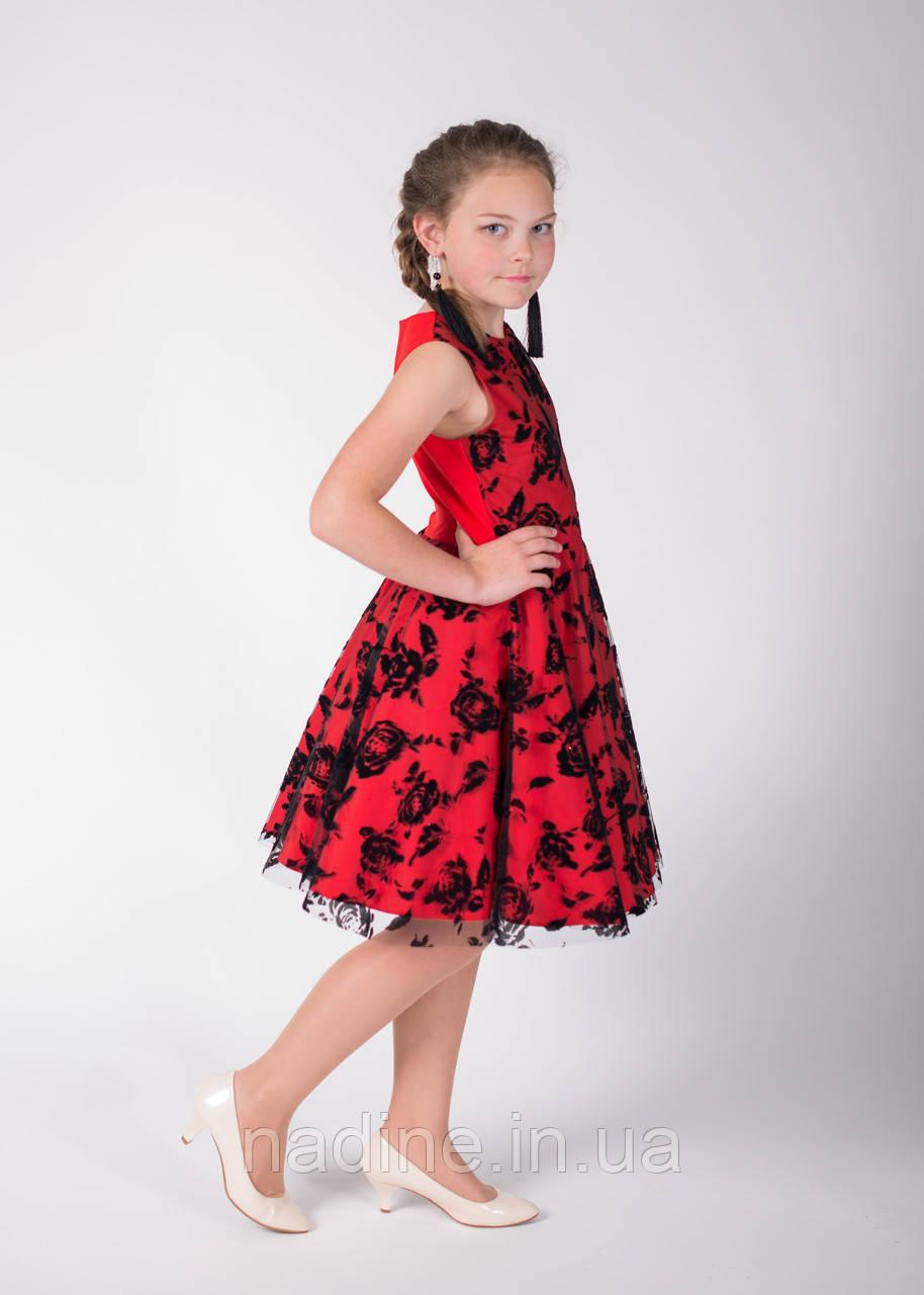 Платье Red Rose Eirena Nadine c юбкой солнце ( 125-34) на рост 134 см Красный