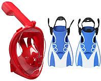 Набор для плавания 2 в 1 (полнолицевая панорамная маска FREE BREATH M2068G + короткие спортивные ласты) Красная маска (размер S/M); Ласты (размер М)