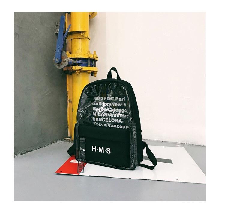 Молодежный рюкзак с прозрачными вставками черный