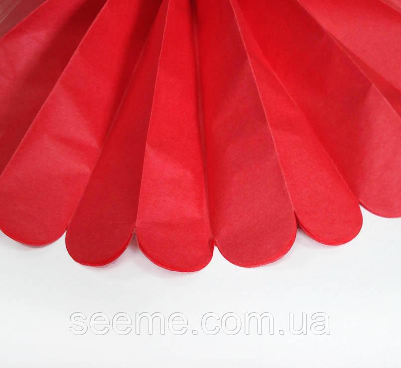 Бумажные помпоны из тишью «Red», диаметр 25 см.