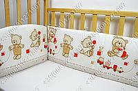 Бортики в детскую кроватку защита бампер Мишка игрушки бежевый
