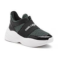 Женские оригинальные стильные черные кроссовки популярного бренда Karl Lagerfeld, фото 1