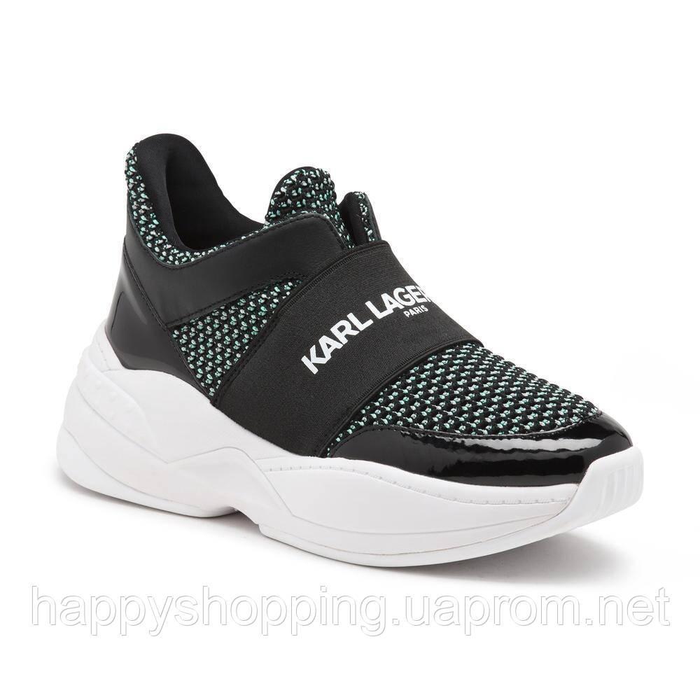 Женские оригинальные стильные черные кроссовки популярного бренда Karl Lagerfeld