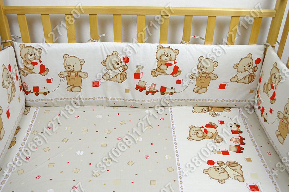 Детское постельное белье и защита (бортик) в детскую кроватку (мишка игрушки бежевый)