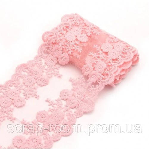 Кружево розовое вышитое, кружево на сетке, кружево розовое, ширина кружева 11,5 см, цена указана за 45 см