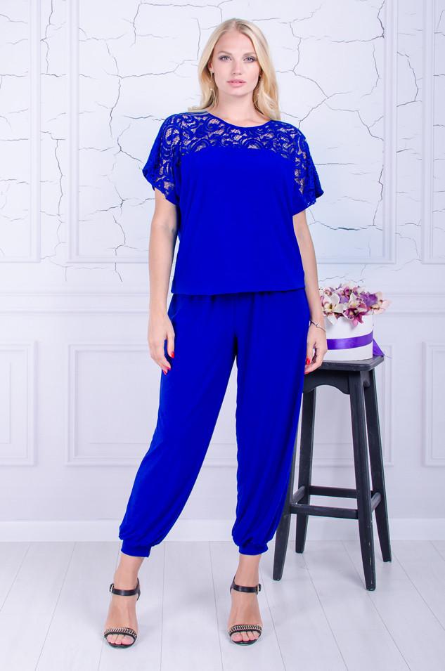 Женский костюм футболка+брюки-султанки  Алсу электрик  (52-66)