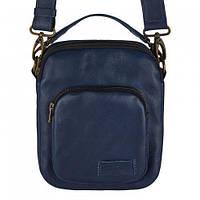 Мужская кожаная сумка Vittorio Safino (барсетка, планшетка через плечо из натуральной кожи) Синяя VS 019